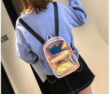 Mini Travel colorful Laser Backpack Women Girls Shoulder Bag PU Leather Holographic School Bags for Teenage