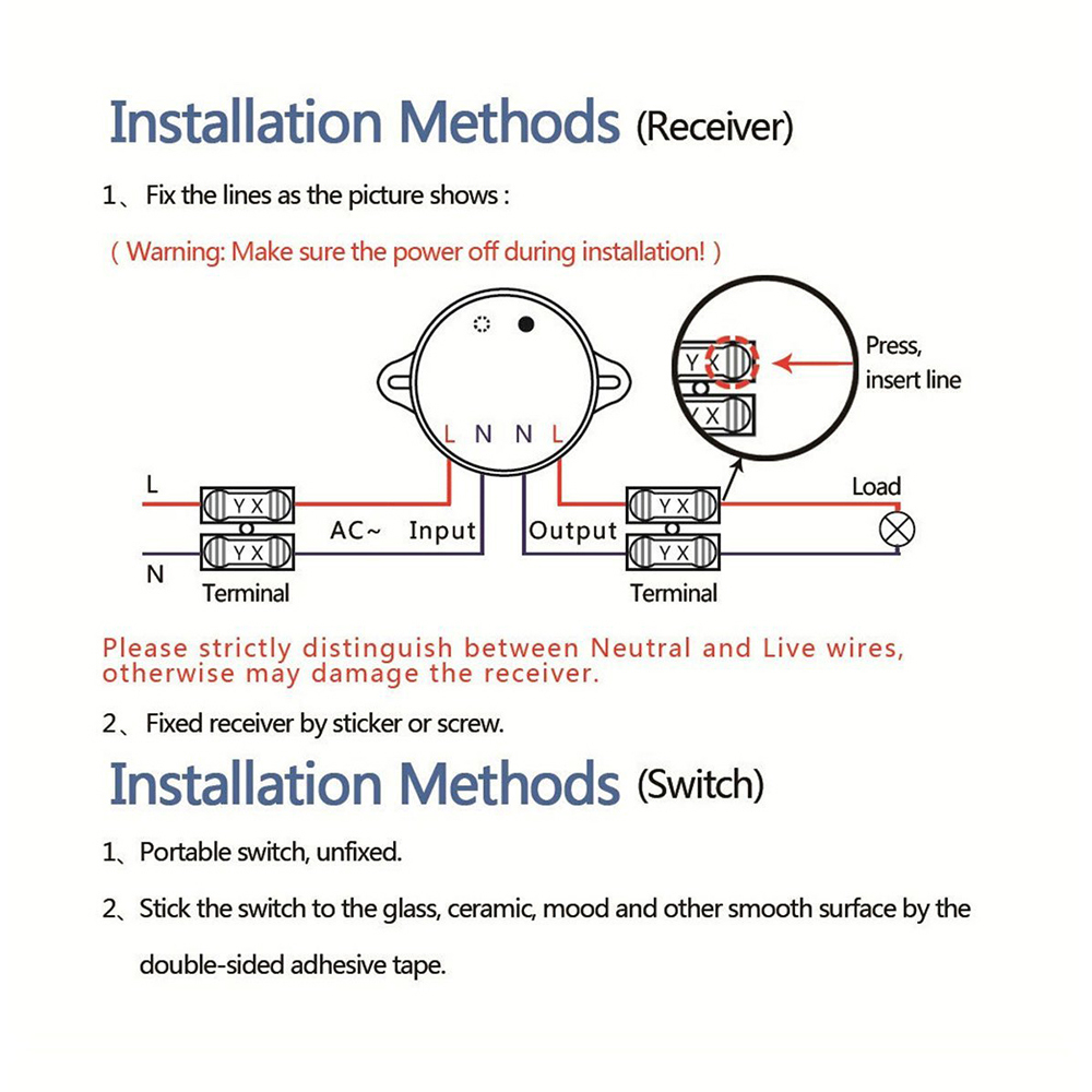 Standard 1 Gang 1 Way Wireless RF Control Light Switch Self powered ...