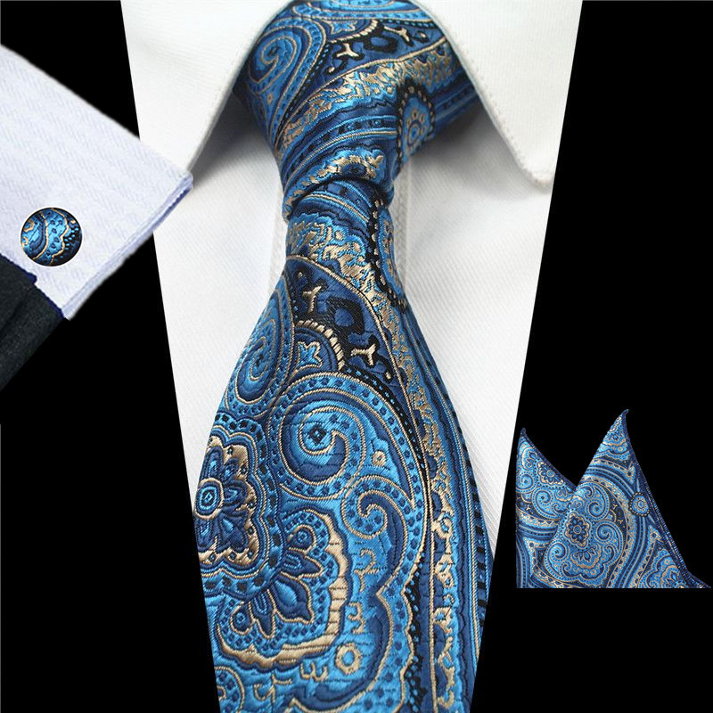 JEMYGINS Plaid Paisley Tie Set Silk Jacquard Mens Necktie Gravata Hanky Cufflinks Set Pocket Handkerchief Mens Tie for Wedding