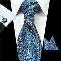Nueva Paisley Corbata Set 100% Seda Jacquard A Cuadros Para Hombre Gravata Corbata Hanky Gemelos Conjunto Pañuelo de Bolsillo Para Hombre para La Boda