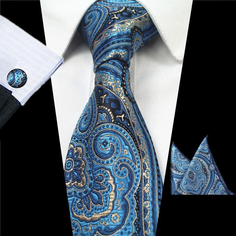 Ricnais Plaid Paisley Tie Set Silk Jacquard Mens Necktie Gravata Hanky Cufflinks Set Pocket Handkerchief Mens Tie For Wedding