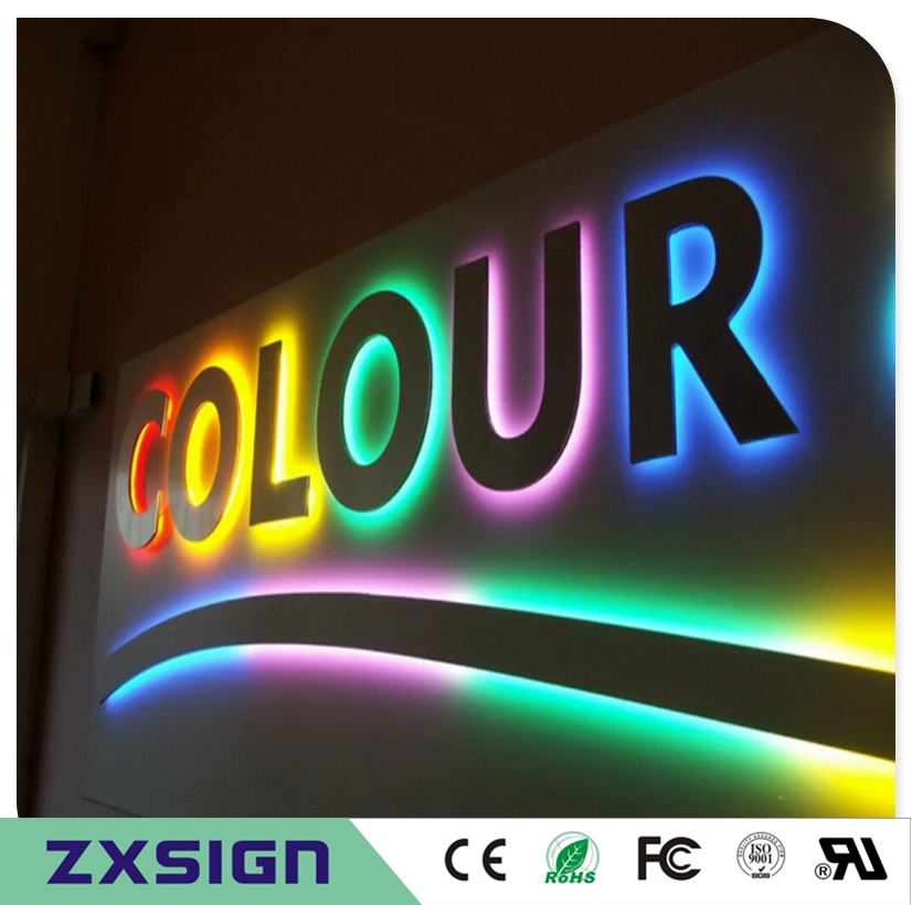 Factory Outlet Stainless Steel Letter 3d Led Back Illuminated Store Signs Reverse Letters