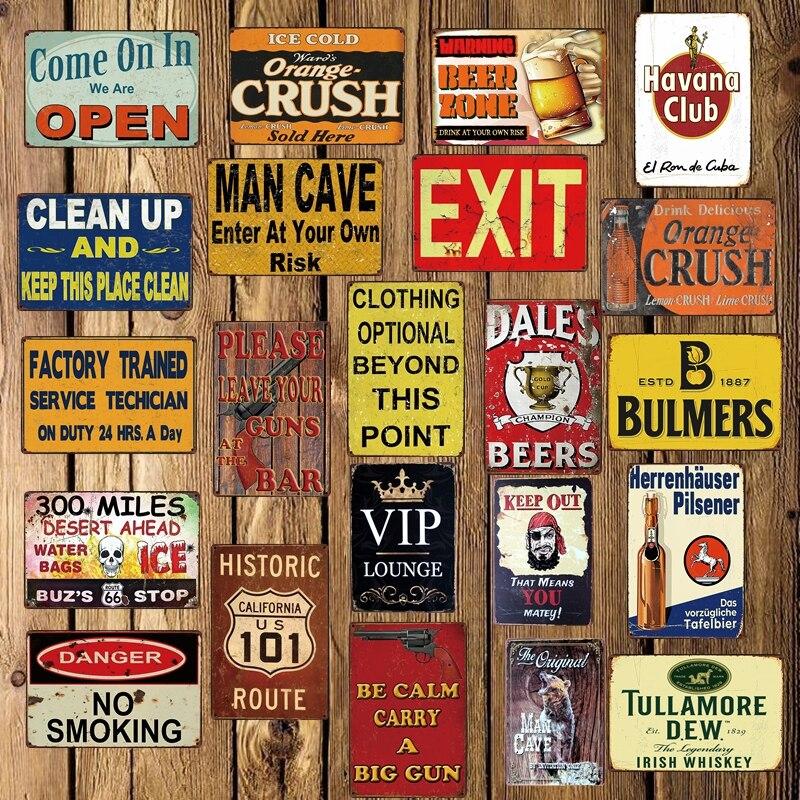 [ DecorMan ] HAVANA BEER MAN CAVE EXIT OPEN VIP NO Smoking Metal Tin Signs Custom wholesale Iron Paintings Bar PUB Decor LT-1720