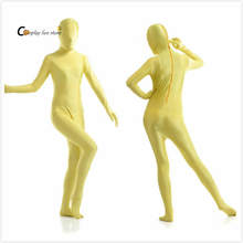 2017 Adult Full Body Spandex Lycra Zentai Suit yellow Tight Suits Pure Color Halloween Party Unitard