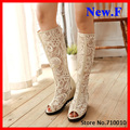 Women Summer BootsSexy Lace Round Toe Wedges High boots for women high quality open toe summer boots size 34-43 Knee-High boots