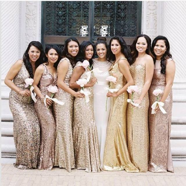 b0fa9880fc16 Gold Long Bridesmaid Dresses Plus Size Custom Made China Cheap Sheath Lace  Sequins Maid of Honor Wedding Party Gowns Christmas