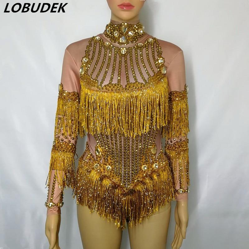 Gold Fringes Rhinestones Bodysuit Women Stage Dance Costume Nightclub Female Singer Performance Outfit Crystals Leotard Catsuit