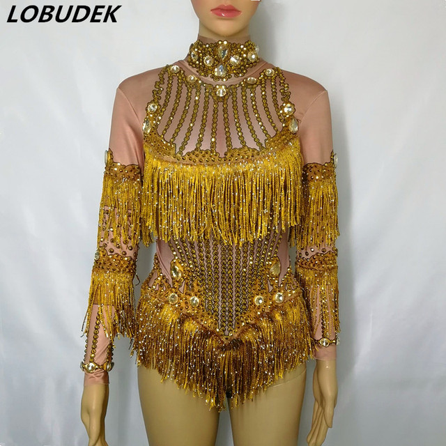 Gold Fringes Rhinestones Bodysuit Women Stage Dance Costume Nightclub Female Singer Performance Outfit Crystals Leotard Catsuit