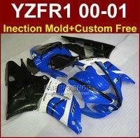 EXUP мотоциклетные Обтекатели для Yamaha Обтекатели YZFR1 2000 2001 yzf 1000 R1 00 01 АБС пластик цвет синий, черный; Большие размеры 34–43 кузовов + 7 подарки