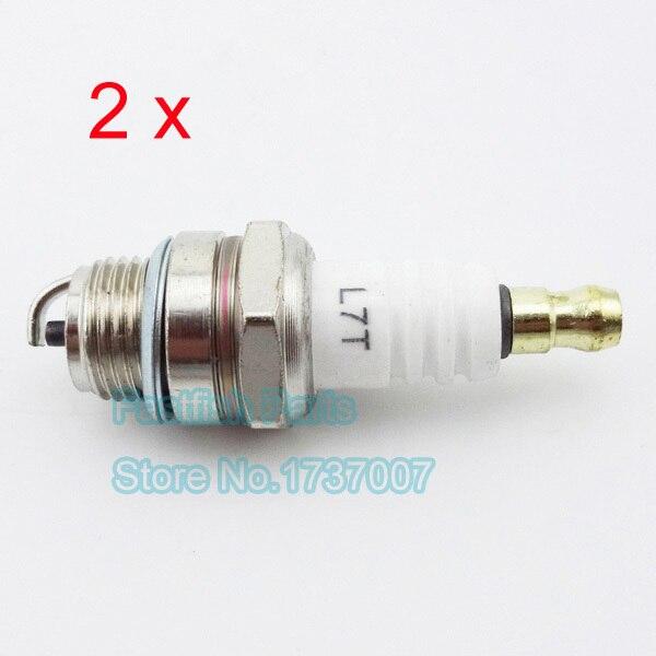 2 шт. упак. L7T Свеча зажигания белая вилка для 47cc 49cc карманный велосипед Minimoto мини квадроцикл