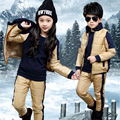 Hign Quality Luxury Trendy Girls Boys Three-Piece Suit Assorted Colors Design Jirong Lining Warm Long Sleeve Winter Clothing