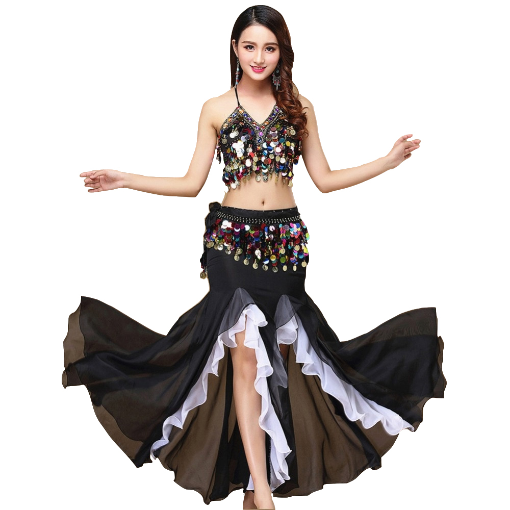 9 Colors Belly Dance Costume Women Dance Coins Tops For Slim Gilrs Bellydance Sequins Beaded Outfits Bra Belt Skirt