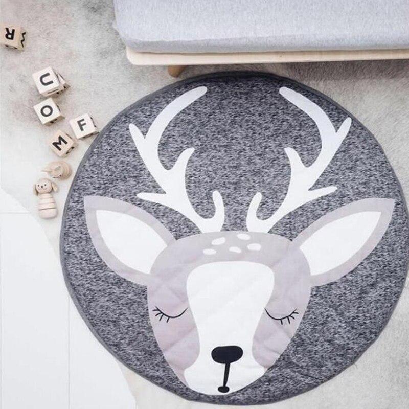 90cm animales de dibujos animados bebé alfombrillas para niños pequeños niños gateando manta alfombra redonda alfombra juguetes alfombra para niños decoración de la habitación foto Pr