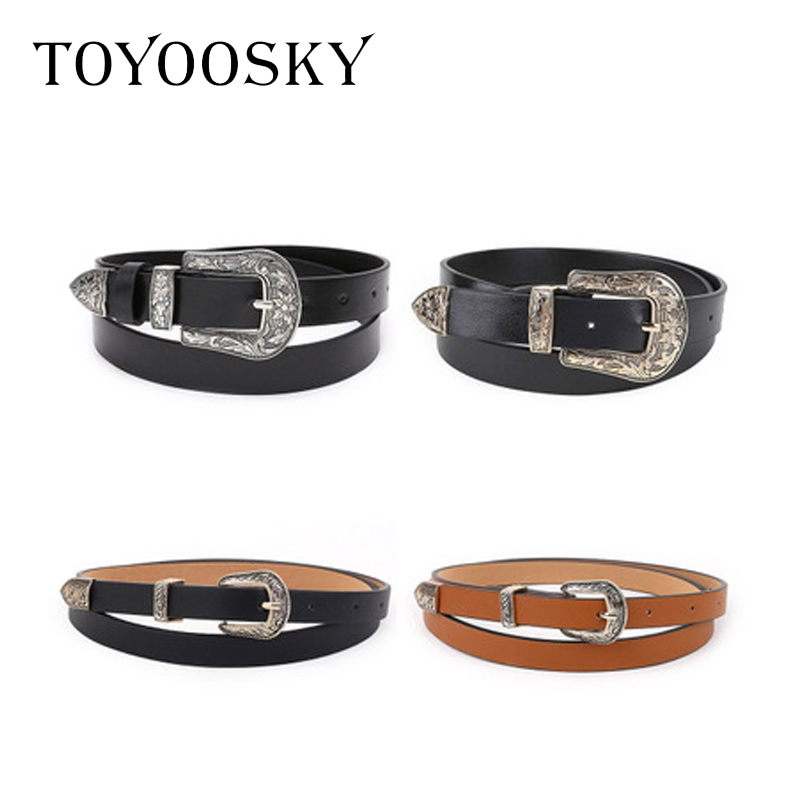TOYOOSKY Designers Women   Belt   Black PU Leather for Jeans Western Cowgirl   Belt   Metal Buckle Waistband for Female Cinturon Mujer