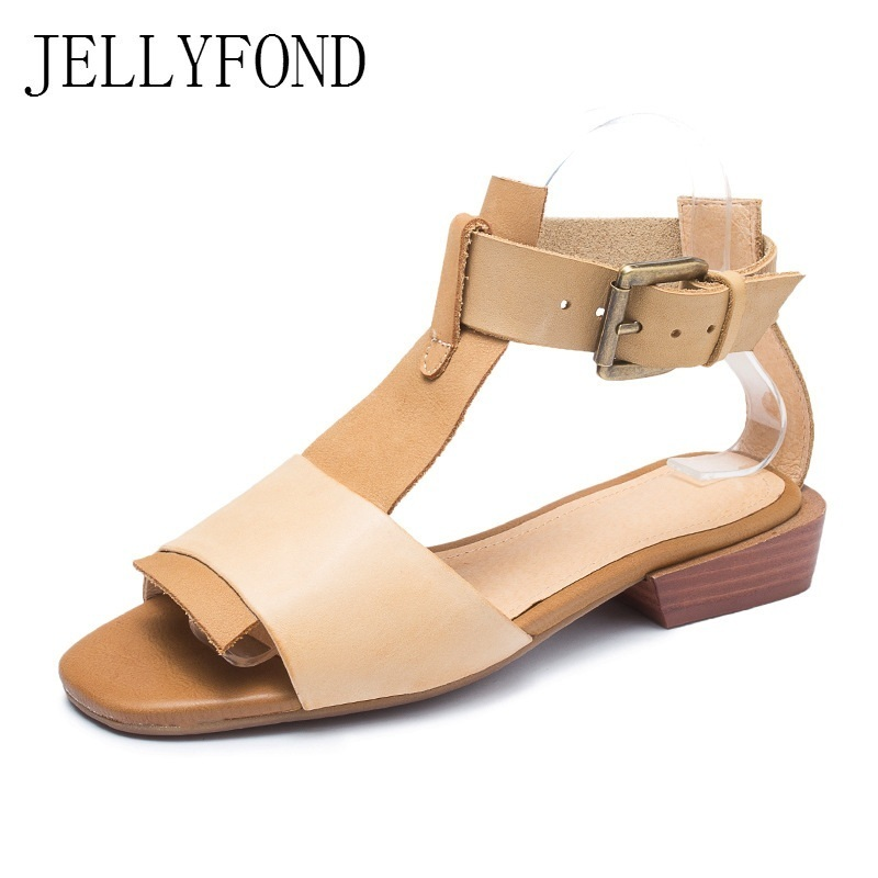 JELLYFOND Genuine Leather Gladiator Sandals Women Peep Toe Ankle Strap Flat Sandals 2018 Designer Handmade Summer Shoes Woman jellyfond brand sandals women genuine leather summer shoes woman peep toe slingback platform wedge high heels gladiator sandals