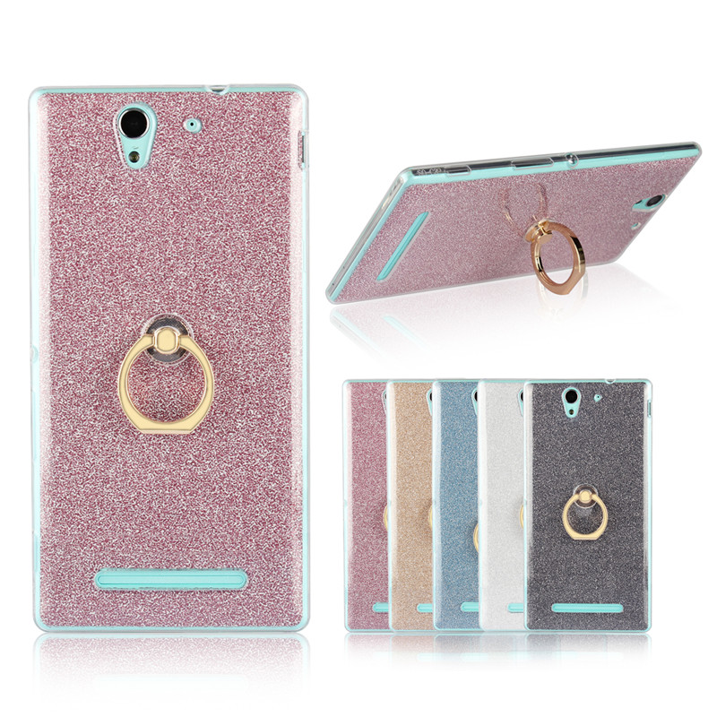 For Sony C 3 C3 D2533 D2502 Case Shiny Glitter Silicon TPU with Ring Holder Back Cover Case for Sony Xperia C3 D2533 Dual D2502