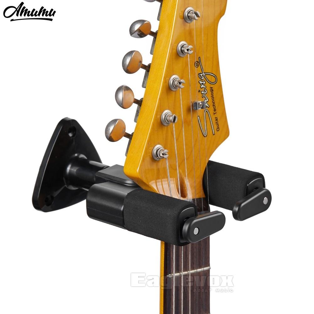 Amumu Black Guitar Wall-mounted Hanger with Auto-Lock Guitar Rack Hook for Guitar Bass Ukelele Wall Holders MH50A
