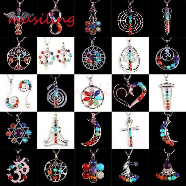 Wholesale pendants natural stone 7 chakra beads metal reiki wholesale pendants natural stone 7 chakra beads metal reiki pendant pendulum charms amulet fashion men jewelry aloadofball Choice Image