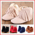 Baby Moccasin Newborn Baby Girl Boy Kids Prewalker Solid Fringe Shoes Infant Toddler Soft Soled Anti-slip Boots Booties 0-1Year