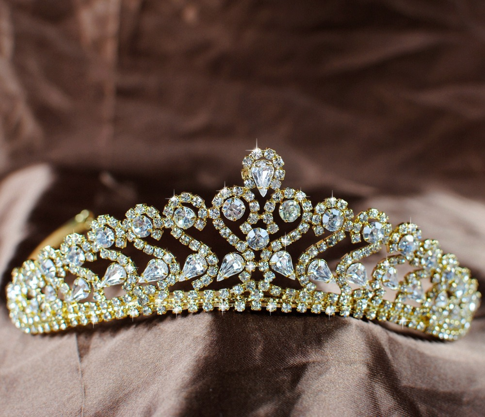 Brides Women Tiara Crown Gold Accessories Clear Rhinestone Wedding Pageant Party