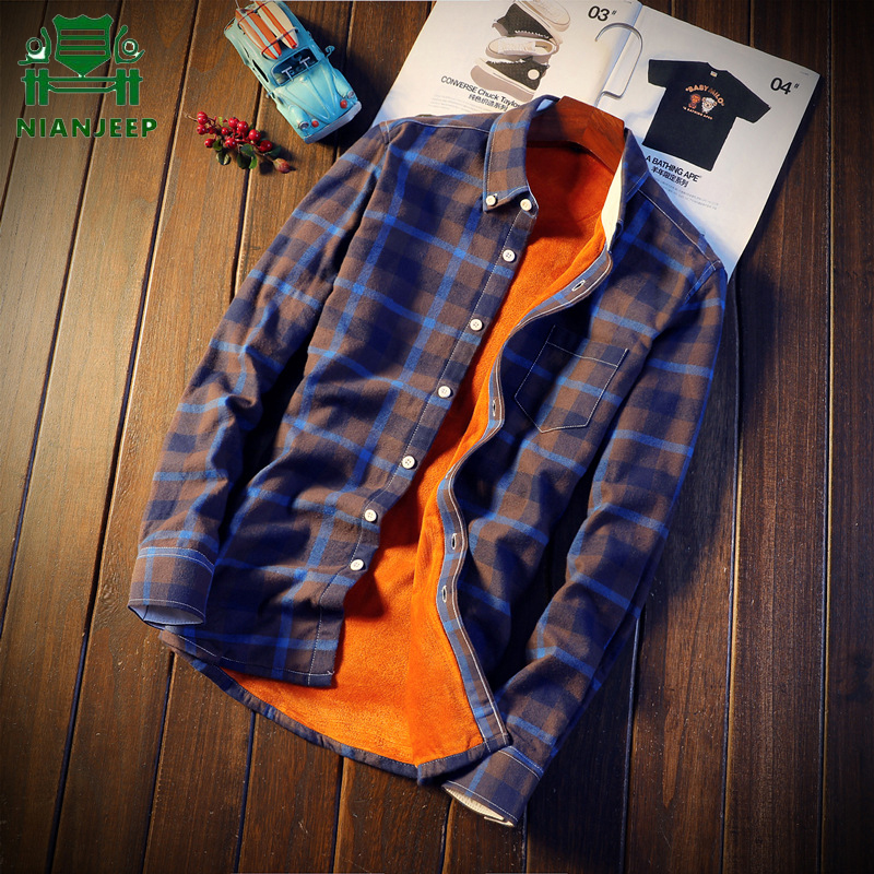 2018 Shirt Men Plaid Flannel Shirts Mens Casual Autumn Winter Spring Thick Warm Fleece Cotton Long Sleeve Shirt Camisa Masculina