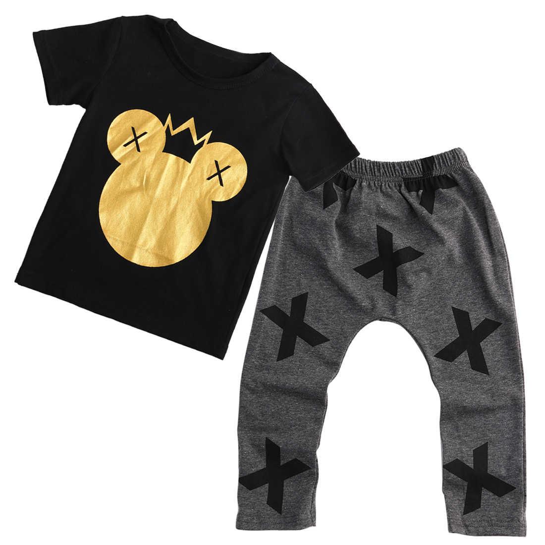2 قطع أزياء طفل الاطفال الفتيان الفتيات ميكي طباعة قصيرة الأكمام قمم T-قميص + السراويل الاطفال وتتسابق مجموعة الملابس