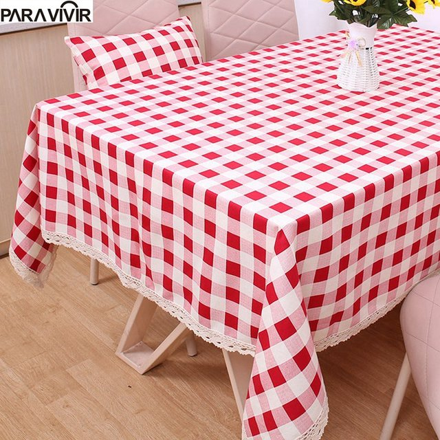Geometric Grid Pattern Tablecloth 100% Cotton Thicker Printed Square  Dustproof Table Cover Lace Edge Table Cloth For Wedding