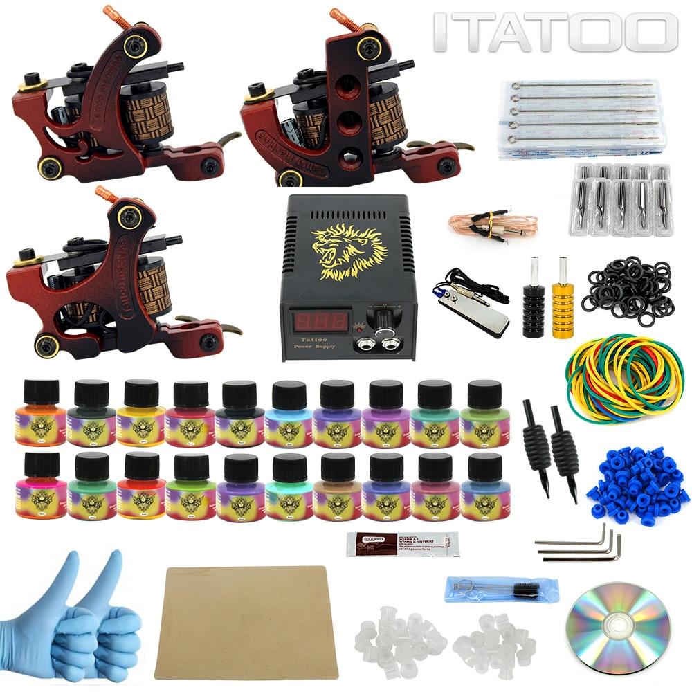 ITATOO Beginner Tattoo Kit 3 Guns Tattoo Machine Set with 20pcs 5ml Tattoo Ink Supply Professional
