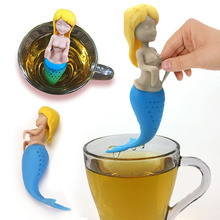 Silicone Mermaid Tea Bag Strainer Tea Infuser Teapot Accessories Tea Leaf Herbal Tool Reusable Tea Filter 1Pcs opening promotion creative silicone tea bag tea pot shape tea filter safely cleaning infuser tea tool