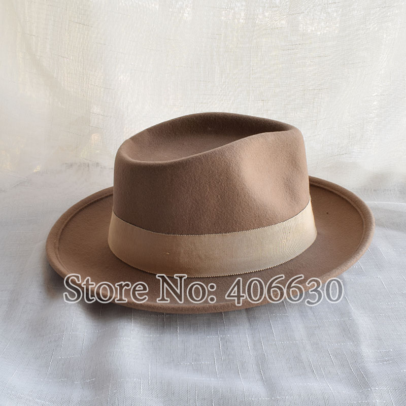 a5d4f06f Winter Wide Brim Camel Color Wool Fedora Hats For Men Chapeu Masculino Felt  Jazz hats Free Shipping PWFR096-in Fedoras from Apparel Accessories on ...