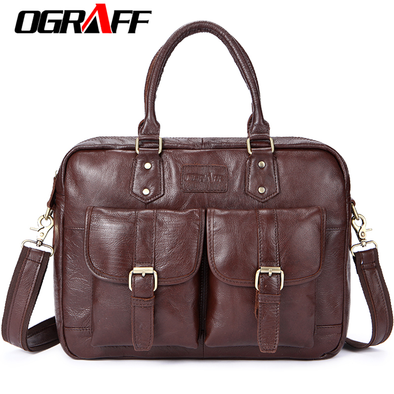 OGRAFF Men Bag Handbag Genuine Leather Briefcases Shoulder Bags Laptop Tote bag men Crossbody Messenger Bags Handbags designer все цены