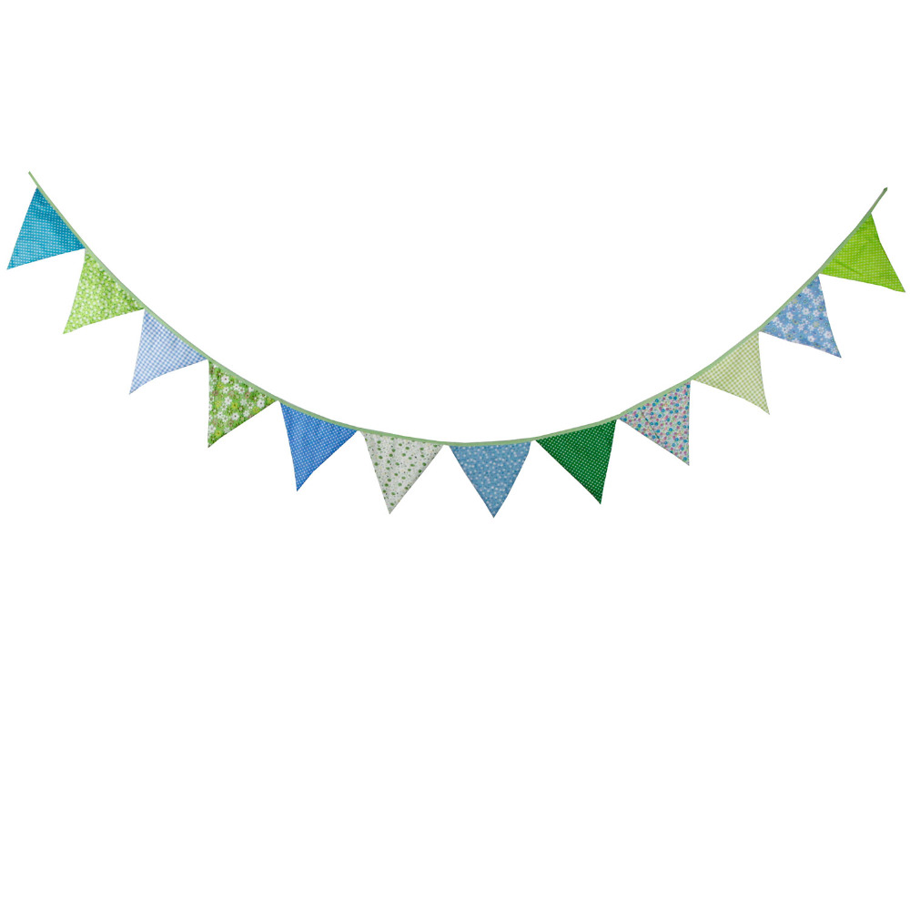 Green INFEI 4 Colors Happy Birthday Fabric Flag Buntings Garlands Wedding Children Party Decoration