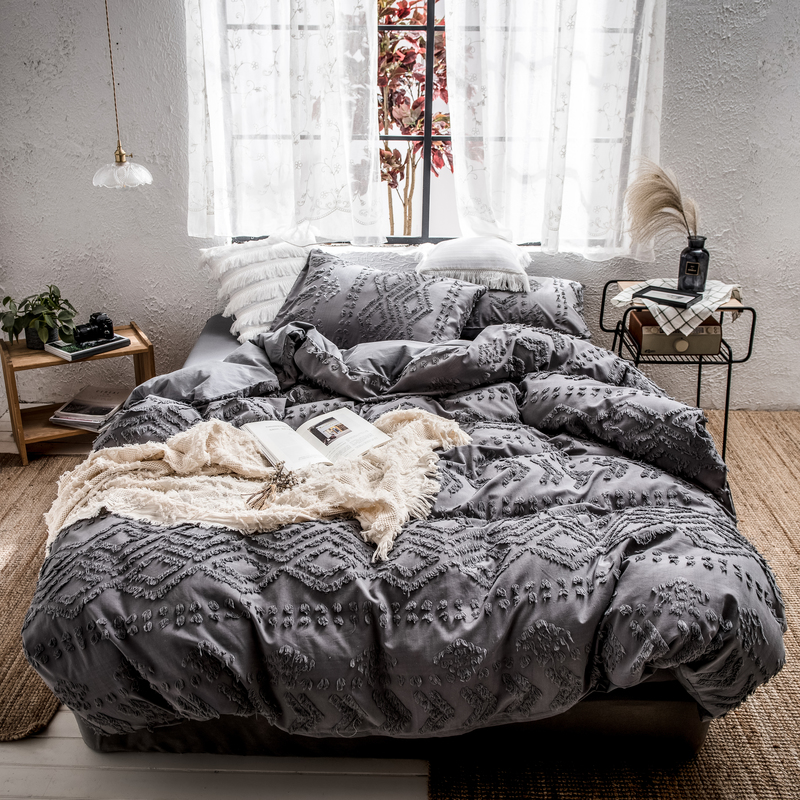 Fashion tassel Quilt Cover Adult Bed Bedding Linens yellow/Gray Bed Cover Pillowcase full queen king Bed Duvet Cover Set