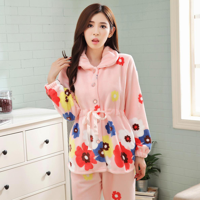 3XL 4XL Plus Women Comfortable Warm Flannel Pajama Set Flower Print Pyjama Set  Long Sleeve Sleepwear Suit Mother Nightshirt Sets 832d64c51