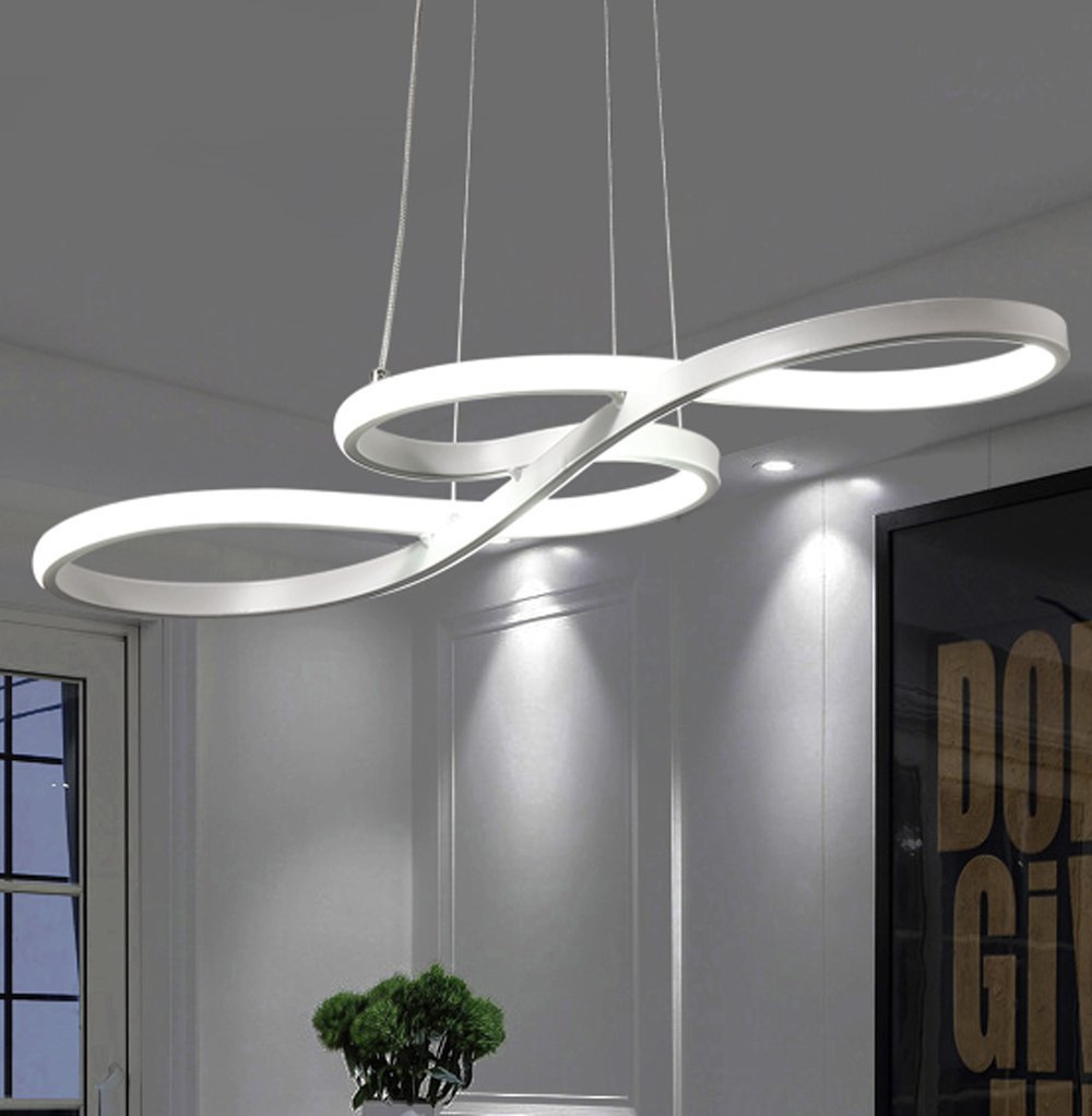 Nordic Modern Office Lighting Led Hanging Line Lamps New Pendant Light Oval Ring Lighting For Dining Room Study Table Kitchen Ceiling Lights & Fans