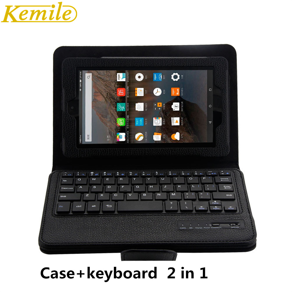 Kemile Removable Wireless Bluetooth Keyboard Portfolio Leather Stand Case Cover for Amazon 2015 New Kindle Fire 7 Tablet keypad universal removable wireless bluetooth keyboard pu leather case cover stand for 7 8 inch tablet pc with free stylus