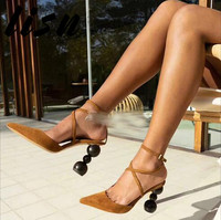 LISN New Tan Black Genuine Leather Buckle Strap Summer Sandals Sexy Pointed Toe Round Heel HIgh Heel Shoes Women