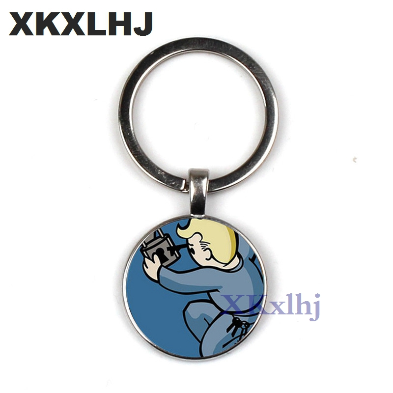 XKXLHJ New Fallout Nuka Cola keychain llavero Glass and alloy Men Women Keyring Pendant Fashion Jewelry все цены