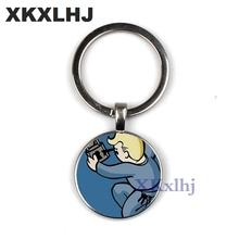 XKXLHJ New Fallout Nuka Cola keychain llavero Glass and alloy Men Women Keyring Pendant Fashion Jewelry