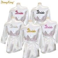 DongKing כתר כלה גלימת זהב נצנצים הדפסת קימונו גלימות גלימות משי מלאכותי רווקות הכלה שמלת אהבה מתנה לחתונה 5 צבעים