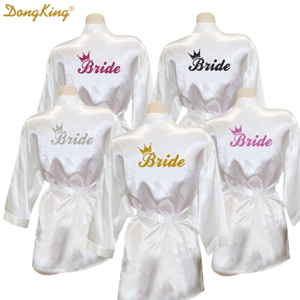 Dongking Bride Crown Robe Golden Glitter Print Kimono