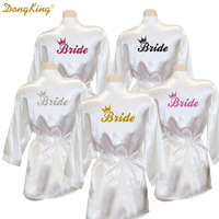 DongKing Bride Crown Robe Golden Glitter Print Kimono Robes Wedding Gift Faux Silk Bachelorette Bride Robes
