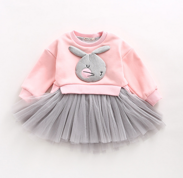 Autumn winter baby girl outfit Lovely 3D Rabbit Child Baby Girl Cotton Dress Korean Long Sleeve patchwork lace baby pink clothes super baby lovely baby girl cotton suits tops shorts child suit clothes outfit set size 1 3y