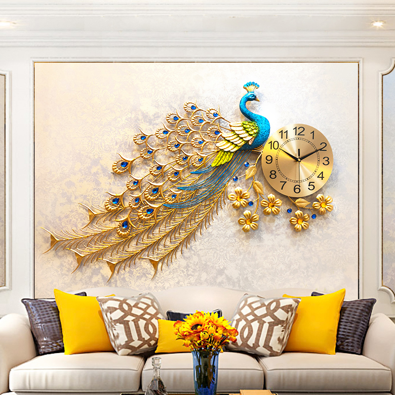 Fashion Peacock Wall Clock Home Decor Wall Watch Modern Design Living Room Bedroom Silent Clock Wall Metal Digital Wall Clocks|Wall Clocks| |  - title=