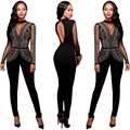Plus Size Fitness Bodycon One Piece Rhinestone Long Sleeve Sexy Club Women Jumpsuit Female Playsuit Rompers Overall Macacao XXXL