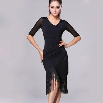 836354585 Vestido de baile latino para mujer nueva moda Sexy de manga corta de baile  latino borla vestido de una-pieza Cha/ rumba/Samba/Tango vestidos