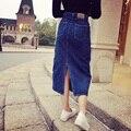 2017 Vintage Sexy Primavera Verano Mujer Denim Falda Lápiz de La Escuela de Mezclilla Europa American Apparel de Cintura Alta Falda Faldas de Gran Tamaño