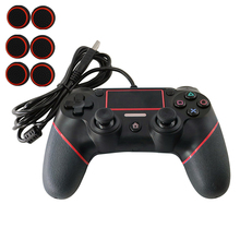 PS4 USB Wired Controller for Sony Playstation 4 Dualshock 4 PS4 Console Joystick Gamepad with 1.8M Cable Silicon Thumbstick Caps