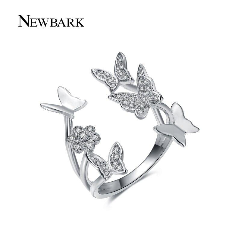 NEWBARK Lovely Ladies Butterfly Ring Rose Gold Color Open Rings ...