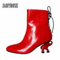 Jady עלתה 2018 אופנה חדשה מעצב אדום פיל נשים העקב מגפי קרסול עור אמיתי חזרה תחרה עקב עד גבוה Botas Mujer